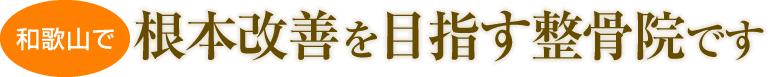 和歌山で根本改善を目指す整骨院です